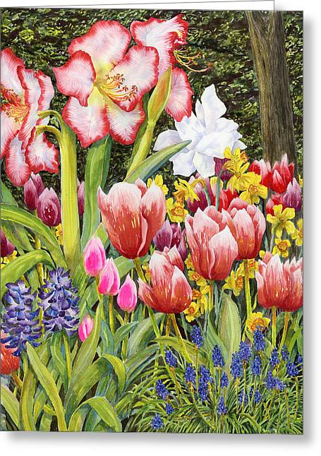 April Greeting Card by Karen Wright