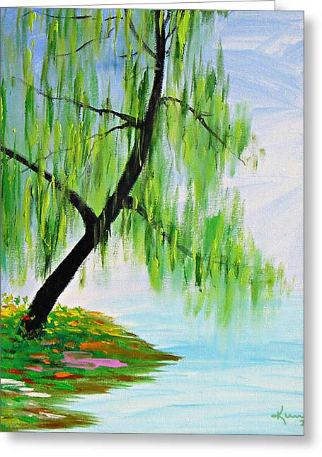 Willow Lake Greeting Cards - April Greeting Card by Kume Bryant