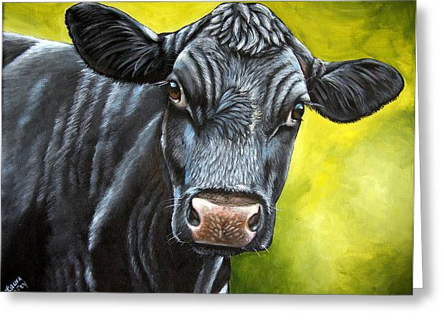 Black Angus Calf Greeting Cards - April Greeting Card by Laura Carey