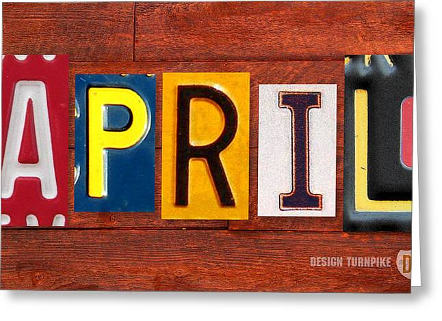 April License Plate Name Sign Fun Kid Room Decor Greeting Card by Design Turnpike