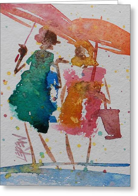 Family Walks Drawings Greeting Cards - April Shower Walk and Talk Greeting Card by Larry Lerew