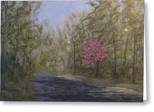 Streetlight Paintings Greeting Cards - April Showers and Flowers Greeting Card by Matthew Hannum