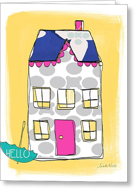 Thank You Greeting Cards - April Showers House Greeting Card by Linda Woods