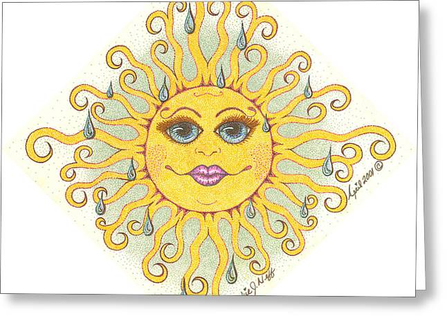 April Showers Sun Greeting Card by Beckie J Neff