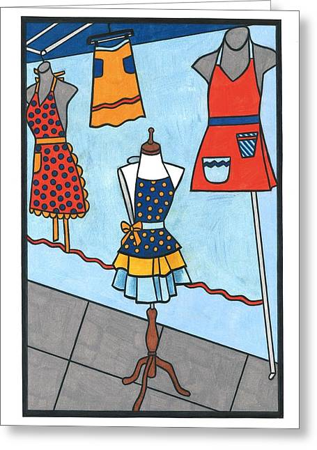 Apron Drawings Greeting Cards - Aprons Greeting Card by Lesley Rutherford