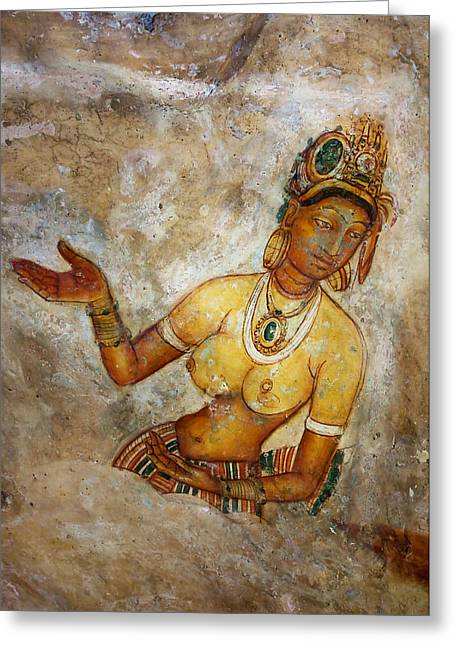 Ceylon Greeting Cards - Apsara. Sigiriya Cave Painting Greeting Card by Jenny Rainbow