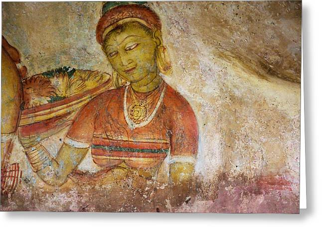 Ceylon Greeting Cards - Apsara with Flowers. Sigiriya Cave Fresco Greeting Card by Jenny Rainbow