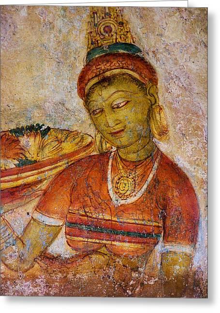 Sacred Body Greeting Cards - Apsara with Flowers. Sigiriya Cave Painting Greeting Card by Jenny Rainbow