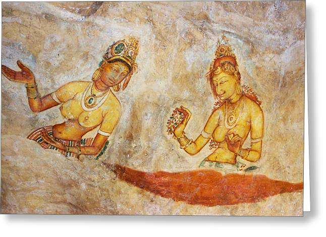 Apsaras. Scene From Cave Painting In Sigiriya Greeting Card by Jenny Rainbow