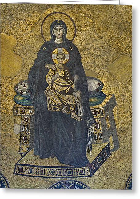 Byzantine Greeting Cards - Apse mosaic Hagia Sophia Virgin and Child Greeting Card by Ayhan Altun