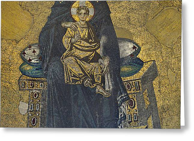 Apse mosaic Hagia Sophia Virgin and Child Greeting Card by Ayhan Altun