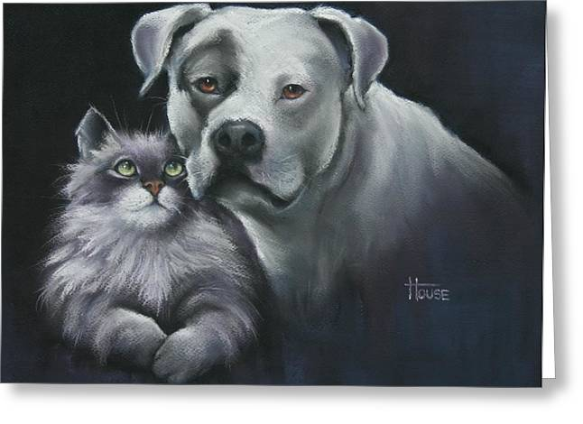 Dog Prints Pastels Greeting Cards - Apu and Ted Greeting Card by Cynthia House