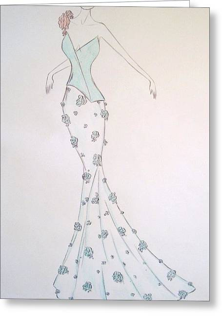 Ball Gown Greeting Cards - Aqua Accord Greeting Card by Christine Corretti
