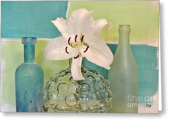 Glass Vase Greeting Cards - Aqua and Lime and Bubble Vase Greeting Card by Marsha Heiken