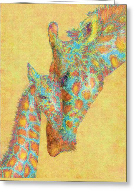 Giraffe Greeting Cards - Aqua And Orange Giraffes Greeting Card by Jane Schnetlage