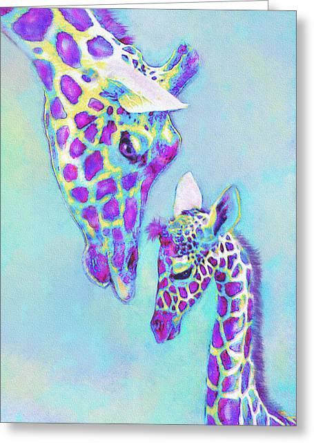Giraffe Digital Art Greeting Cards - Aqua And Purple Loving Giraffes Greeting Card by Jane Schnetlage