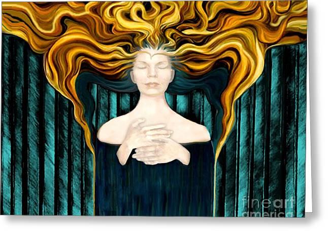 Seraphim Angel Greeting Cards - Aqua Angel Greeting Card by Dia T