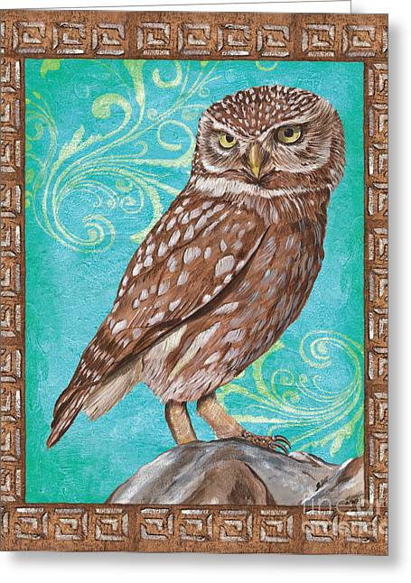 Border Greeting Cards - Aqua Barn Owl Greeting Card by Debbie DeWitt