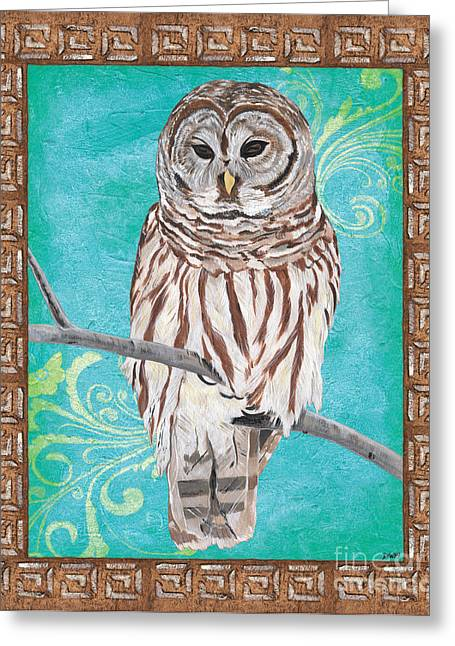 Border Greeting Cards - Aqua Barred Owl Greeting Card by Debbie DeWitt