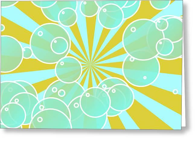 Bubbly Digital Greeting Cards - Aqua bubbly art Greeting Card by Gaspar Avila