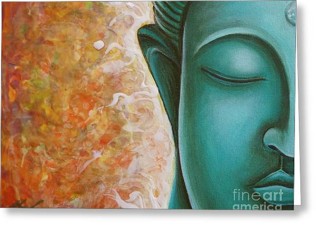 Gayle Utter Greeting Cards - Aqua Buddha Greeting Card by Gayle Utter