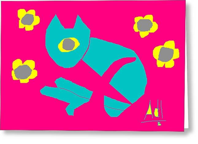 Floral Digital Drawings Greeting Cards - Aqua Cat Greeting Card by Anita Dale Livaditis