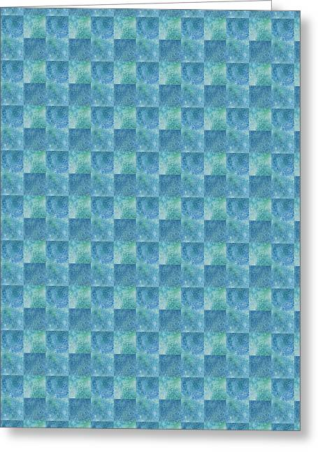 Aqua Checkers Greeting Card by Jenny Armitage