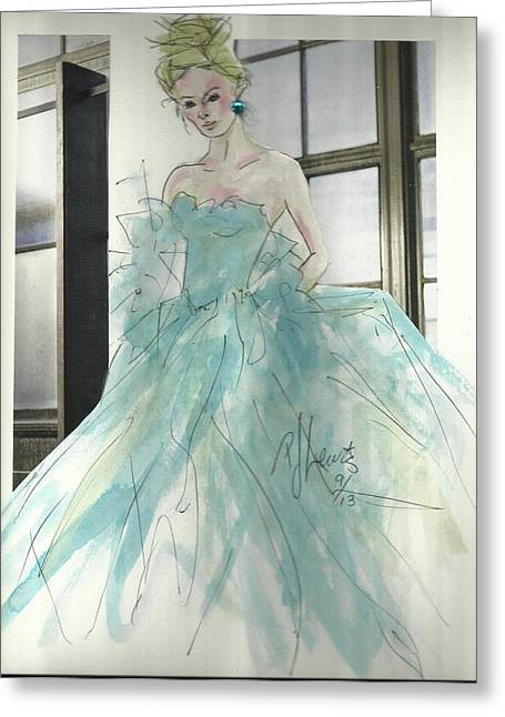 Evening Dress Mixed Media Greeting Cards - Aqua Chifon  Greeting Card by P J Lewis