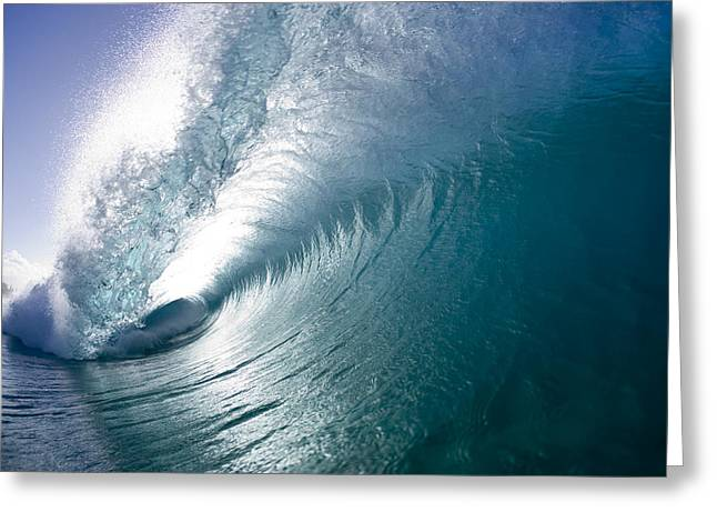 Aqua Curl Greeting Card by Sean Davey
