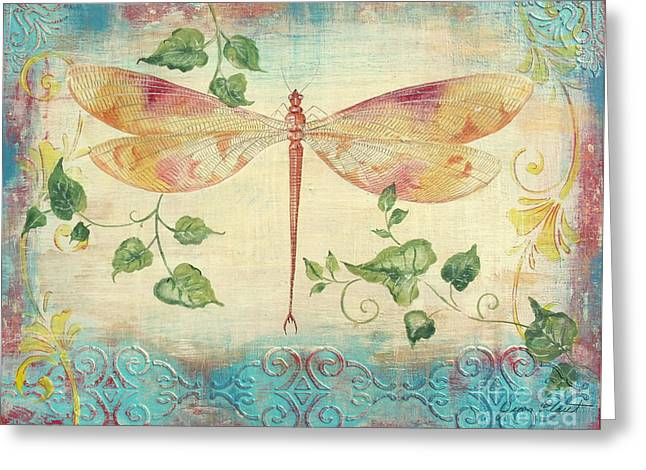 Print On Acrylic Greeting Cards - Aqua Dragonfly Greeting Card by Jean Plout