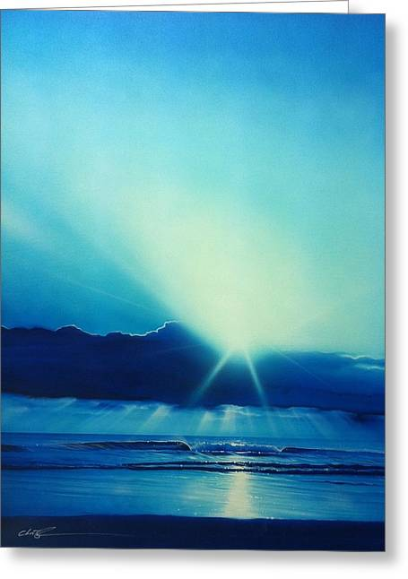 Sunset Prints Greeting Cards - Aqua Earth Greeting Card by Christian Chapman Art
