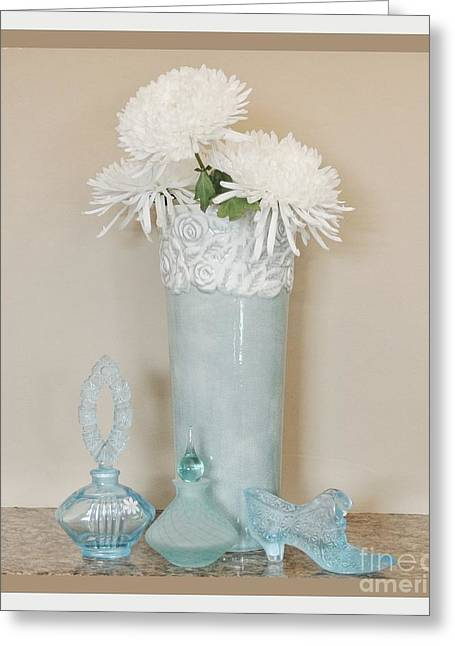 Aqua Floral Still Life Greeting Card by Marsha Heiken