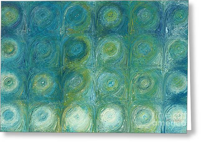 Decorator Series Greeting Cards - Aqua-Green Texture Flow 1. Modern Abstract Fine Art Greeting Card by Mark Lawrence