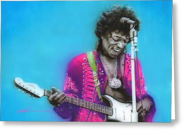 Jimi Hendrix Paintings Greeting Cards - Aqua Haze Greeting Card by Christian Chapman Art