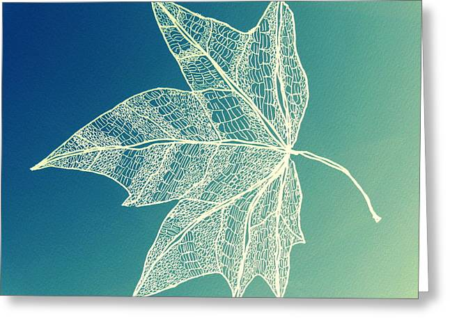 Catherine White Greeting Cards - Aqua Leaf Study 1 Greeting Card by Cathy Jacobs