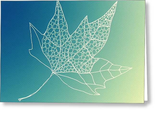 Catherine White Greeting Cards - Aqua Leaf Study 2 Greeting Card by Cathy Jacobs
