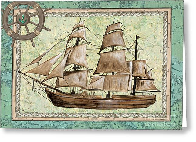 Tall Ships Greeting Cards - Aqua Maritime 1 Greeting Card by Debbie DeWitt