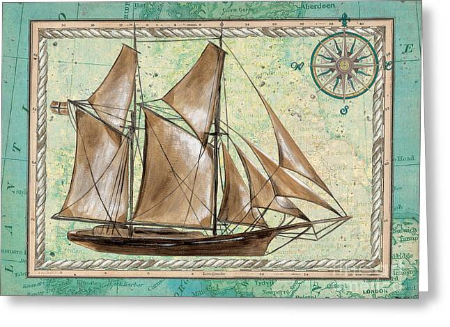 Tall Ships Greeting Cards - Aqua Maritime 2 Greeting Card by Debbie DeWitt