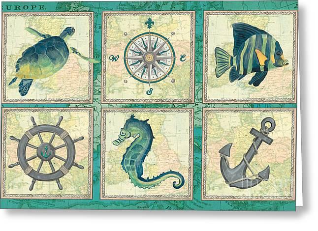 Aqua Maritime Patch Greeting Card by Debbie DeWitt