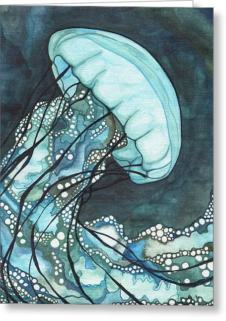 Whimsical Paintings Greeting Cards - Aqua Sea Nettle Greeting Card by Tamara Phillips