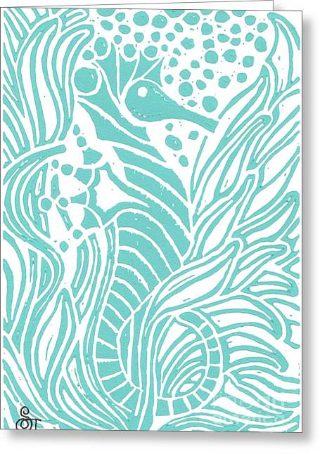 Aqua Seahorse Greeting Card by Stephanie Troxell