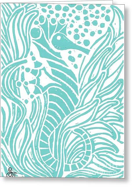 Surf Art Greeting Cards - Aqua Seahorse Greeting Card by Stephanie Troxell