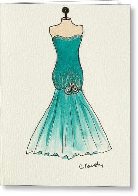 Strapless Dress Paintings Greeting Cards - Aqua Trumpet Ballgown Greeting Card by Cindy Nowotny