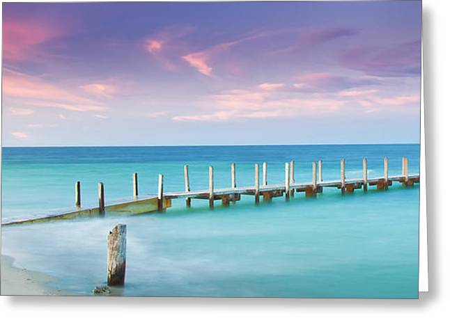 Wharf Greeting Cards - Aqua Waters Greeting Card by Az Jackson