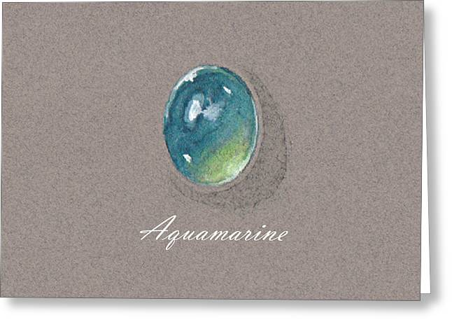 Carat Paintings Greeting Cards - Aquamarine cabochon Greeting Card by Marie Esther NC