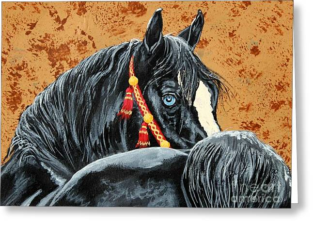 Gypsy Greeting Cards - Aquamarine onyx - Arabian horse Greeting Card by Lucka SR