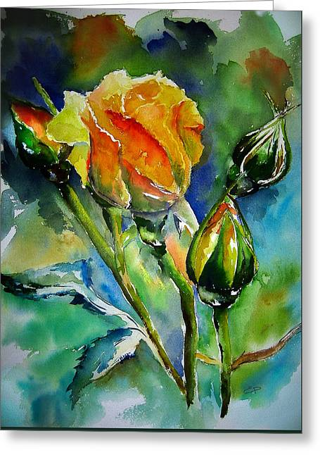 Roses Paintings Greeting Cards - Aquarelle Greeting Card by Elise Palmigiani