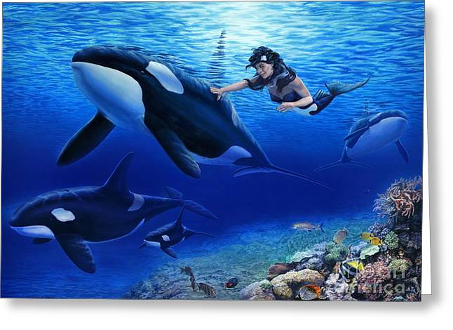 Reef Fish Paintings Greeting Cards - Aquarias Orcas Greeting Card by Stu Shepherd
