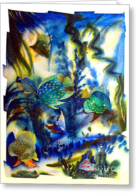 Aquarium Fish Greeting Cards - AQUARIUM archived work  Greeting Card by Charlie Spear