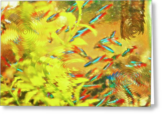 Artistic Fish Abstraction Greeting Cards - Aquarium Art 7 Greeting Card by Steve Ohlsen